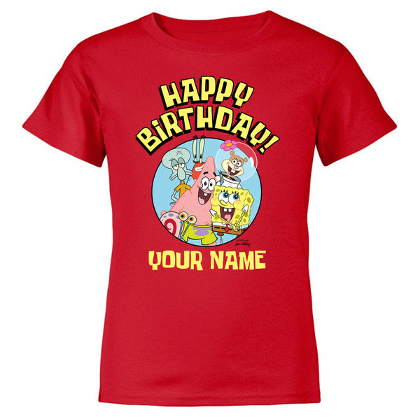 SpongeBob SquarePants Group Shot Personalized Kids Short Sleeve T-Shirt - SpongeBob SquarePants Official Shop