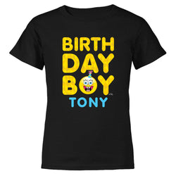 SpongeBob SquarePants Birthday Boy Emoji Personalized Kids Short Sleeve T-Shirt