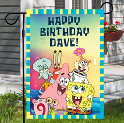 Spongebob Squarepants Group Shot Personalized Flag - SpongeBob SquarePants Official Shop