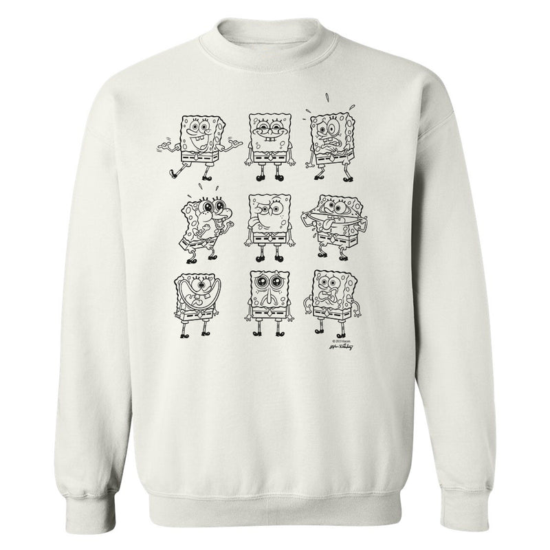 SpongeBob SquarePants Black and White Moody Crew Neck Sweatshirt
