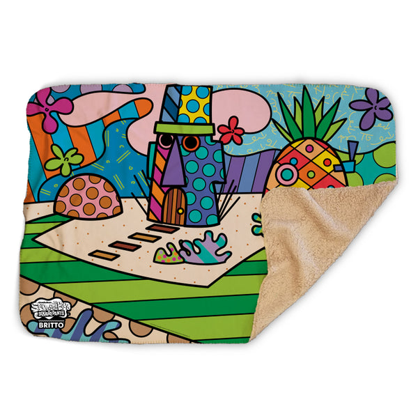 SpongeBob SquarePants Britto Bikini Bottom Sherpa Blanket - SpongeBob SquarePants Official Shop
