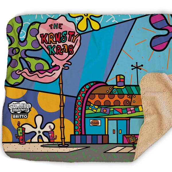 SpongeBob SquarePants Britto The Krusty Krab Sherpa Blanket - SpongeBob SquarePants Official Shop