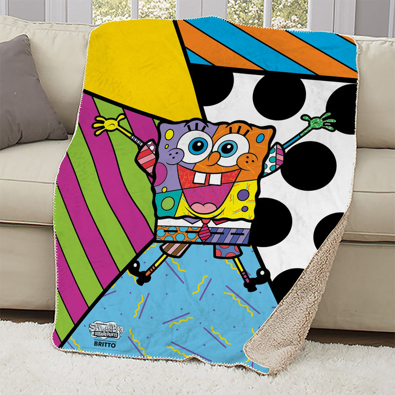 SpongeBob SquarePants Britto Rainbow Sherpa Blanket - SpongeBob SquarePants Official Shop