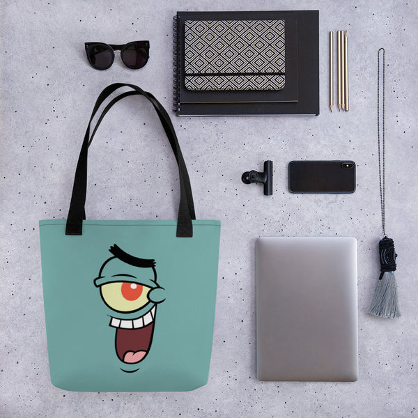 SpongeBob SquarePants Plankton Big Face Premium Tote Bag - SpongeBob SquarePants Official Shop