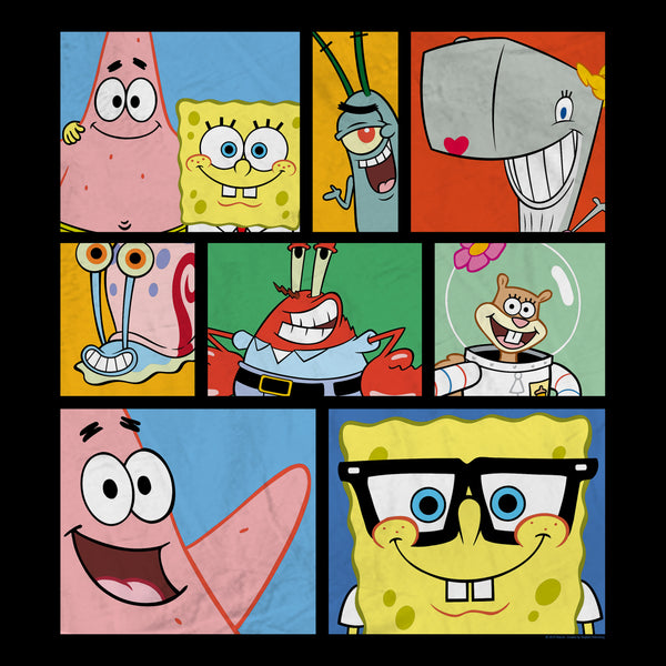 "SpongeBob SquarePants Characters Grid Sherpa Blanket - 50"" x 60"" - SpongeBob SquarePants Official Shop"