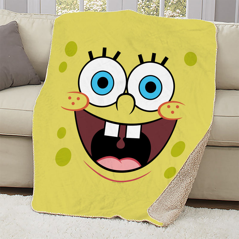 SpongeBob SquarePants Yellow Big Face Sherpa Blanket