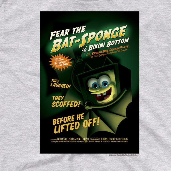SpongeBob SquarePants Fear The Bat-Sponge Adult Short Sleeve T-Shirt