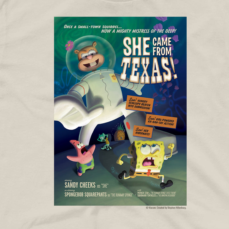 SpongeBob SquarePants She Came From Texas Adult Short Sleeve T-Shirt - SpongeBob SquarePants Official Shop