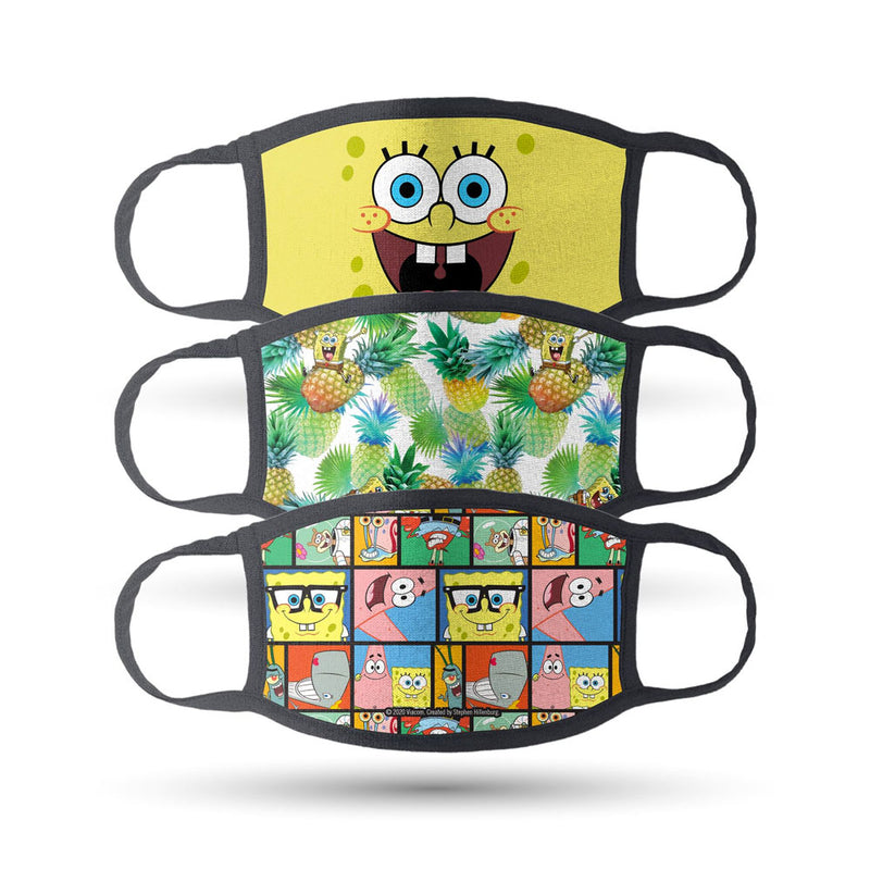 SpongeBob SquarePants Assorted Washable Face Masks - Pack of 3 - SpongeBob SquarePants Official Shop