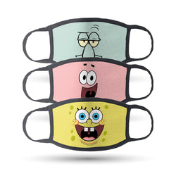 SpongeBob SquarePants Big Face Washable Face Masks - Pack of 3 - SpongeBob SquarePants Official Shop