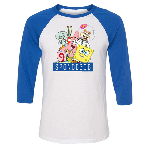 SpongeBob SquarePants Group Shot ¾ Sleeve Baseball Tee