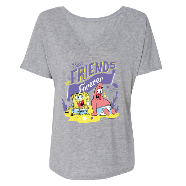 SpongeBob SquarePants Best Friends Women's Relaxed V-Neck T-Shirt