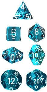 Chessex RPG Dice Sets: Translucent Teal White 7 Dice Set