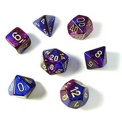 Chessex: Gemini Blue-Purple/Gold 7 Die Polyhedral Set