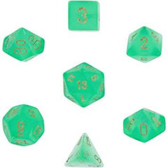 Chessex: Borealis 2 Light Green/Gold 7 Die Polyhedral Set