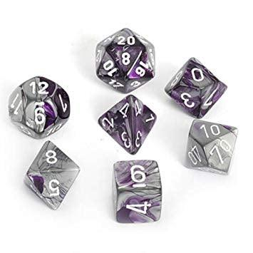 Chessex: Gemini Purple-Steel/White 7 Die Polyhedral Set