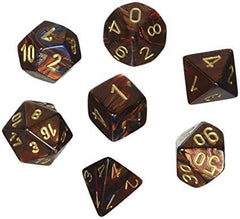 Chessex: Scarab Blue Blood/Gold 7 Die Polyhedral Set