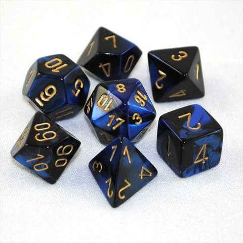 Chessex: Gemini Black-Blue/Gold 7 Die Polyhedral Set