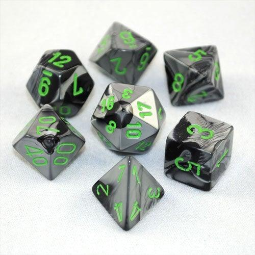 Chessex RPG Dice Sets: Gemini Polyhedral Black-Grey with Green 7 Die-Set