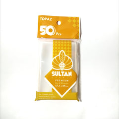 Website Exclusive Box of 50 - Sultan Supply Premium Card Sleeves: 57.5 x 89 Topaz - Gaming Library