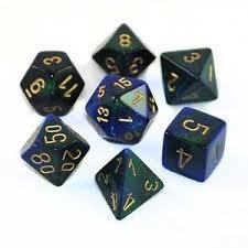 Chessex: Gemini Blue-Green/Gold 7 Die Polyhedral Set