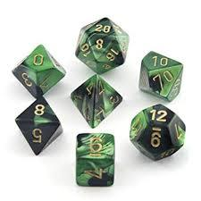 Chessex: Gemini Black-Green/Gold 7 Die Polyhedral Set