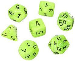 Chessex: Vortex Bright Green/Black 7 Die Polyhedral Set