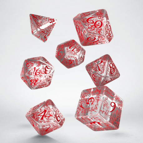 Q-Workshop Transparent and Red Elvish Dice Set