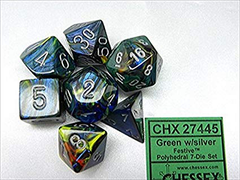 Chessex: Festive Green/Silver 7-Die Polyhedral Set