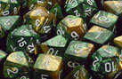 Chessex: Gemini Gold-Green/White 7 Die Polyhedral Set - Gaming Library