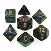 Chessex: Lustrous Shadow/Gold 7-Die Set