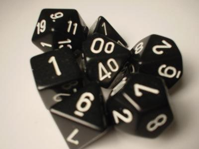 Chessex: Opaque Black White 7 Die Polyhedral Set