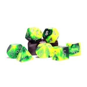 Chessex: Gemini Green-Yellow/Silver 7 Die Polyhedral Set