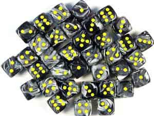 Chessex RPG Dice Sets: Vortex Dice 12mm d6 Black/Yellow Dice Block (36 dice)