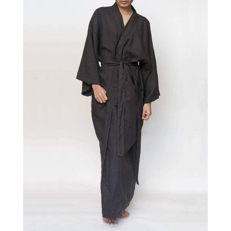 French Linen Kimono Style Robe | Charcoal Sunday Morning
