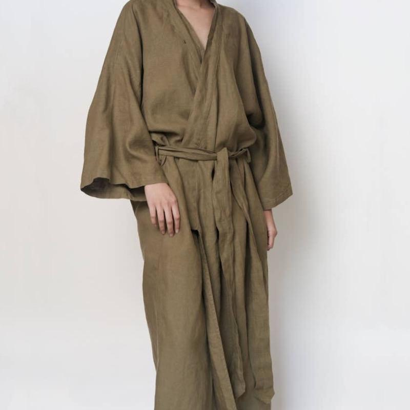 French Linen Kimono Style Robe | Moss Sunday Morning