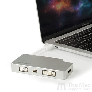 4-in-1 USB-C Multiport Video Adapter - Aluminum - 4K 30Hz - Silver-The Mac Support Store
