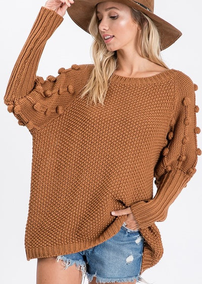 Chocolate Pom Pom Sweater