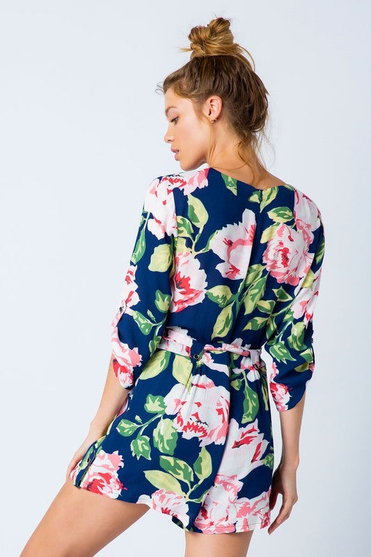 Floral Print Romper with Tie Belt