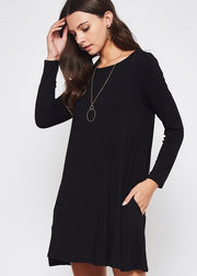 Favorite Tunic Shift Dress - Black