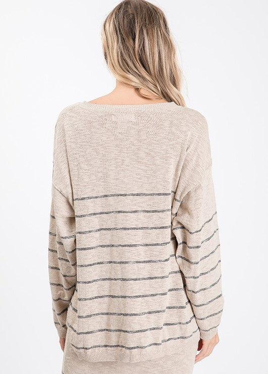 Tan Striped Relaxed Knit Top