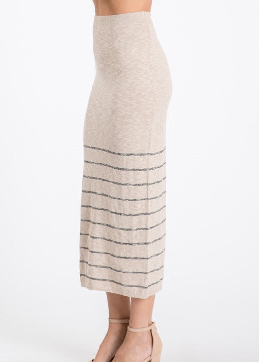 Tan Striped Pencil Skirt