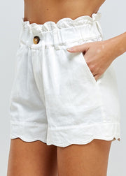 White Scalloped Paperbag Shorts