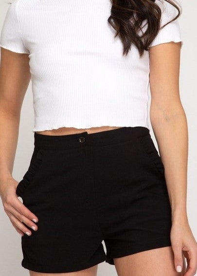 Black Woven Shorts with Ruffle Trim
