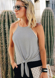 Stripe Knot Knit Tank