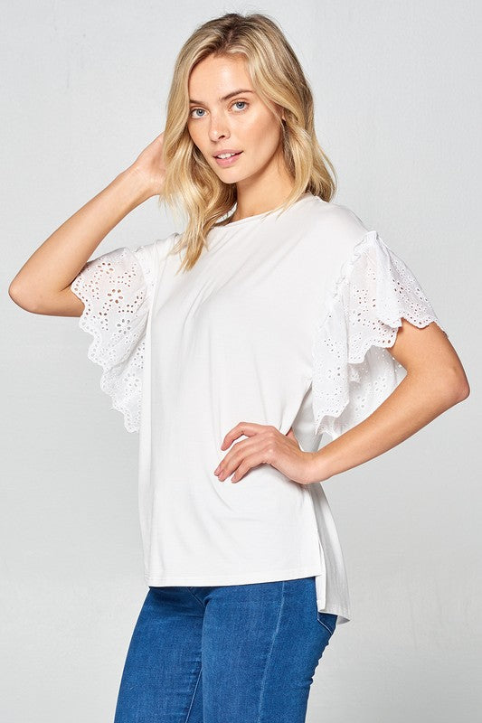 White Knit Top with Ruffle Eyelet Sleeves