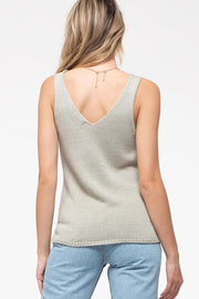 Sage Knitted Sleeveless Tank with Pom-Poms