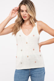 Multi Colored Pom Pom Sleeveless Knitted Top
