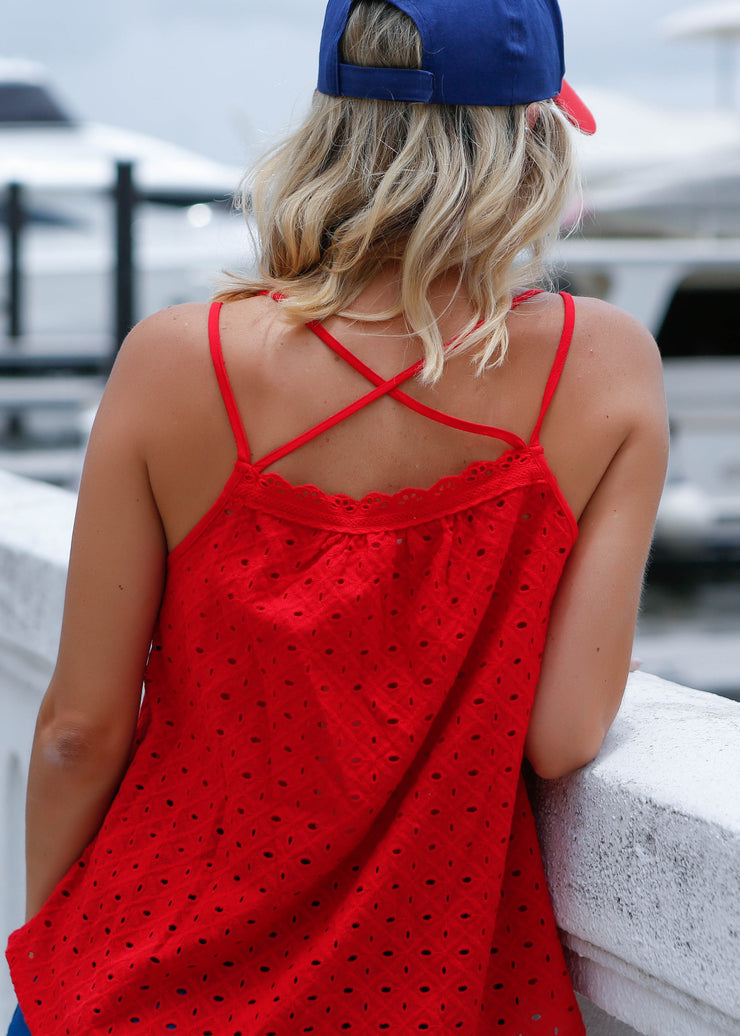 Red Eyelet Top with Spaghetti Straps