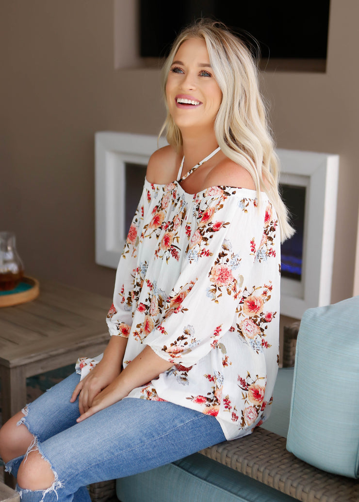 Floral Off Shoulder Loose Fit Top